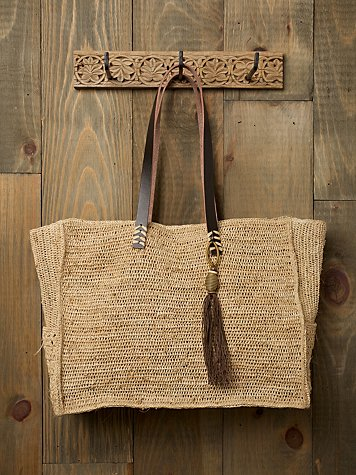 Straw & Leather Tassle Tote
