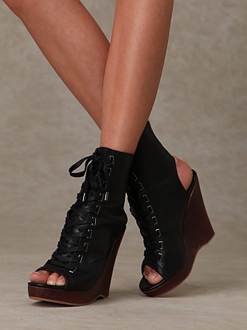 Lace Up Peep Toe Wedge
