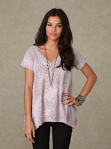 Short Sleeve Ditsy Trapeze Lace Trim Tee