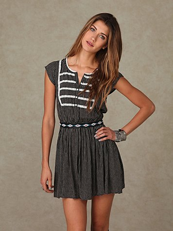 Short Sleeve Dotted Rayon Dress