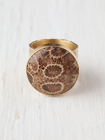 Coral Fossil Ring