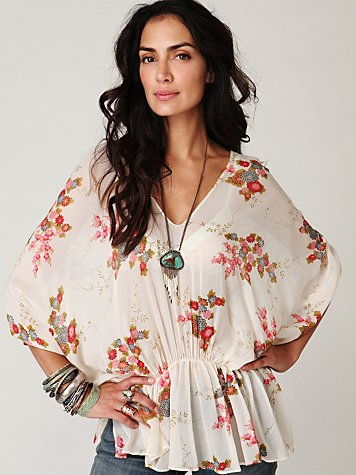 Short Sleeve Floral Dolman Tunic
