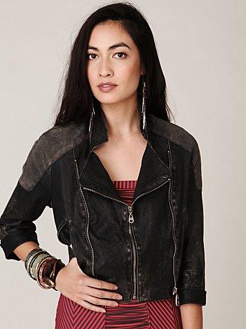 Doma Cropped Leather Jacket