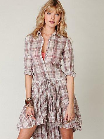 FP ONE Plaid Shirt Dress
