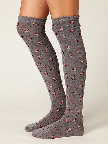 Floral Roll Top Tall Sock