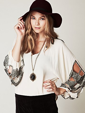 Sequin Sleeve Blouse