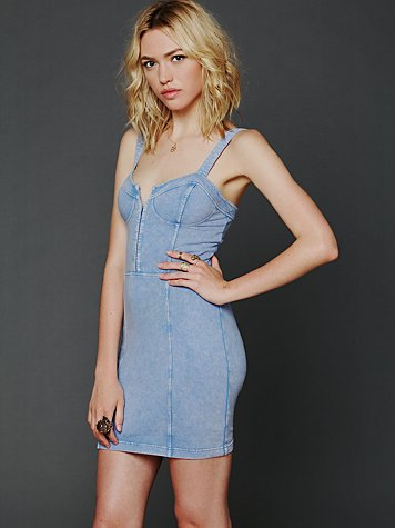 Denim Corset Bodycon Slip