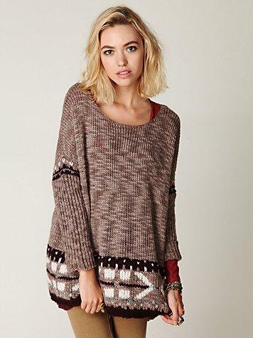 Oversized Fairisle Trimmed Sweater