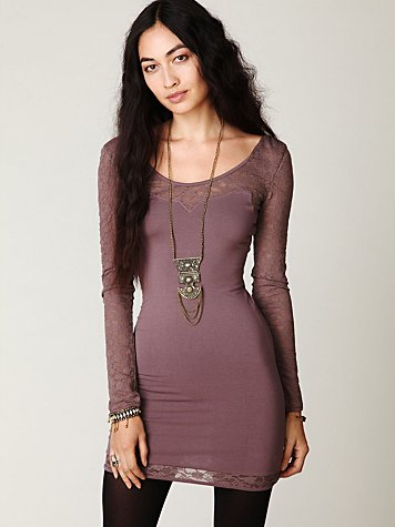 Long Sleeve Lace Bodycon Slip