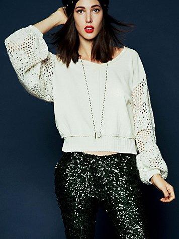Crochet Sleeve Pullover