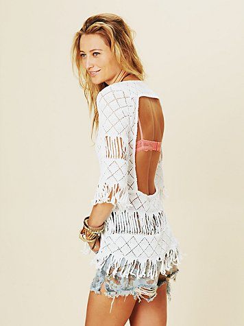 Open Diamond Fringe Tunic