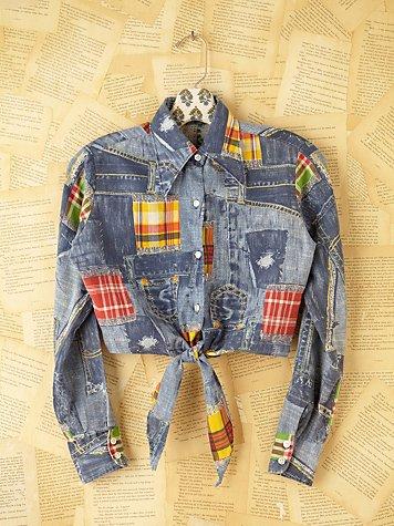 Vintage Denim Patchwork Shirt