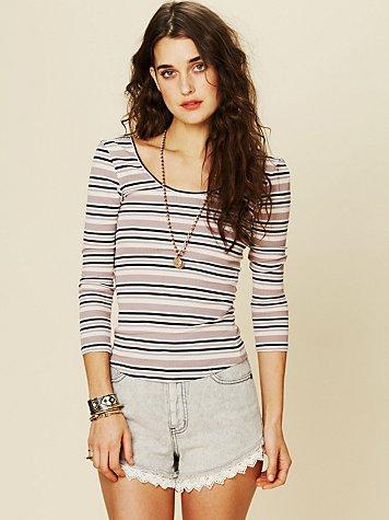 Stripey Tiny Knit Long Sleeve Top