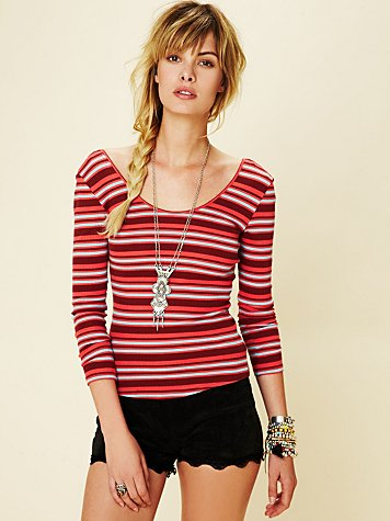 Stripey Tiny Knit Long Sleeve Top