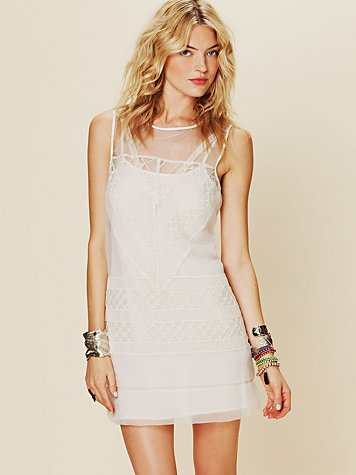 Geometric Lace Shift Dress