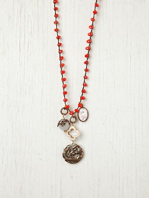 Orange Bead and Vintage Charm Pendant
