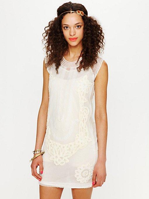 Elle Embroidered Dropwaist Mini Dress