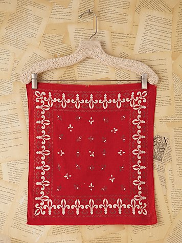 Vintage Red Patterned Woven Scarf