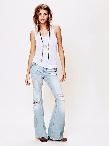 Printed Denim Flare