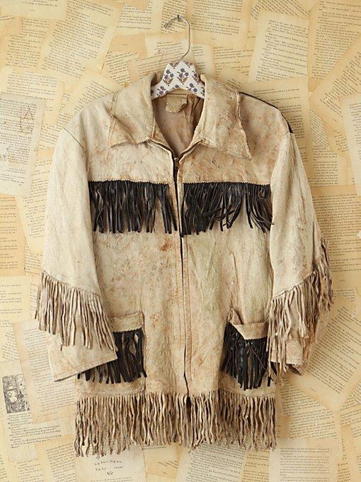 Vintage Distressed Leather Fringe Jacket