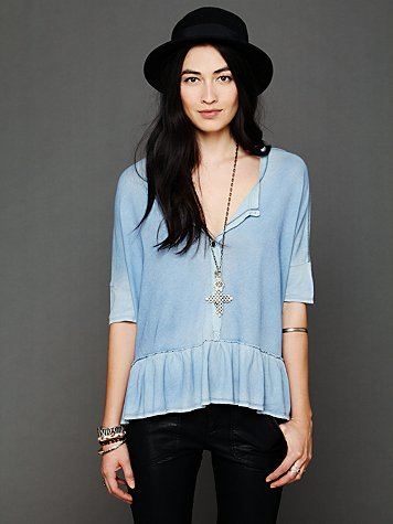 We The Free Ruffled Boyfriend Top