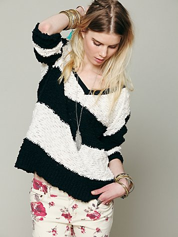 Striped Shaggy Knit Pullover