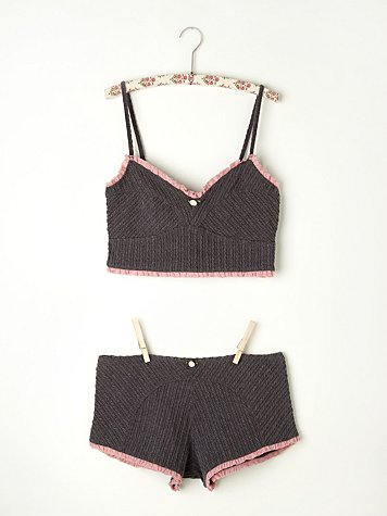 Cable Knit Crop Top and Shorts Set