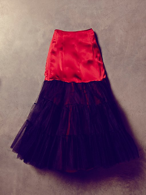 Vintage Red Silk and Tulle Skirt
