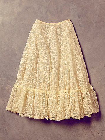 Vintage Creme Lace and Tulle Skirt