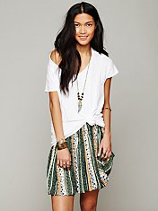 Printed Pull On Mini Skirt
