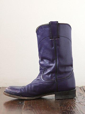 Vintage Purple Leather Western Boots