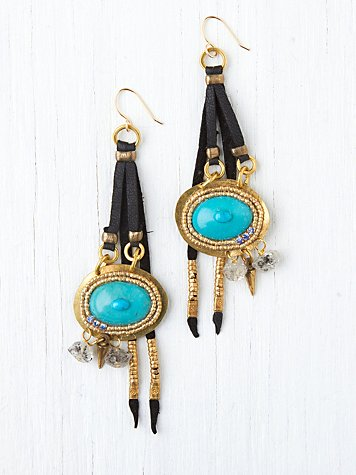 Leather and Stone Drop Earrings