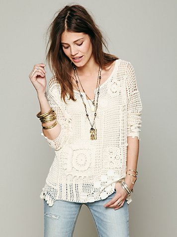 Patched Crochet Pullover