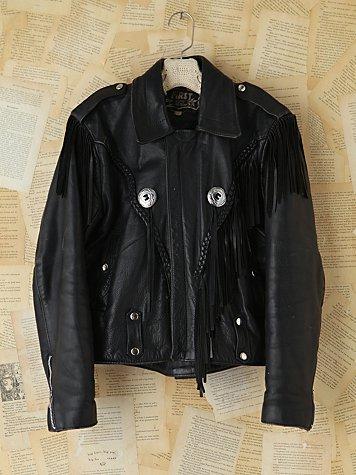 Vintage Black Leather Fringe Jacket