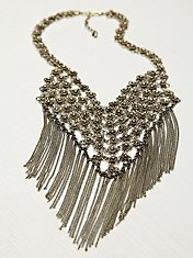 Floral Chain Mail Fringe Necklace