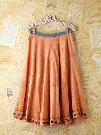 Vintage Salmon Suede and Denim Skirt