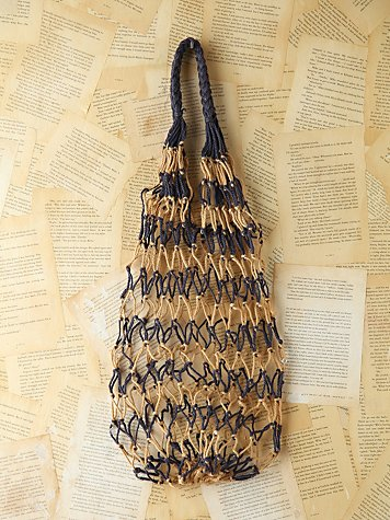 Vintage Two-Tone Woven Rope Bag