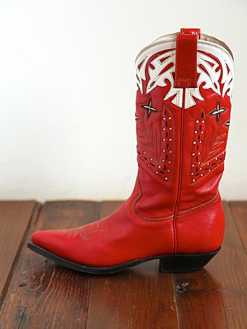 Vintage Red Leather Cowboy Boots