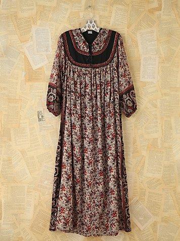 Vintage Metallic Floral Printed Dress