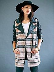 FP New Romantics Leather Sleeve Motorcycle Jacket