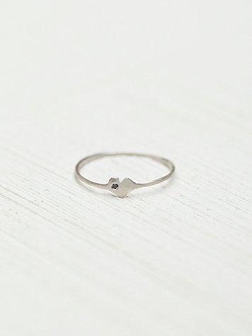 Diamond Heart Silver Ring