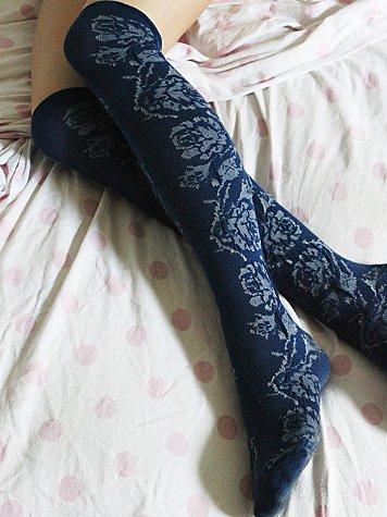 Vertical Rose Tall Sock