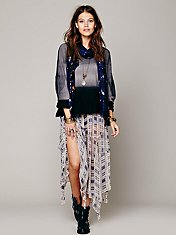 Printed Tattered Circles Maxi