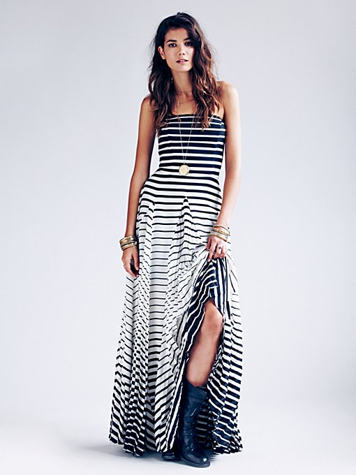 Michelle Pleated Striped Maxi