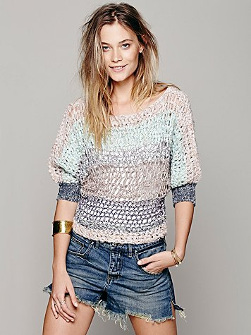 Open Stitch Banded Pullover