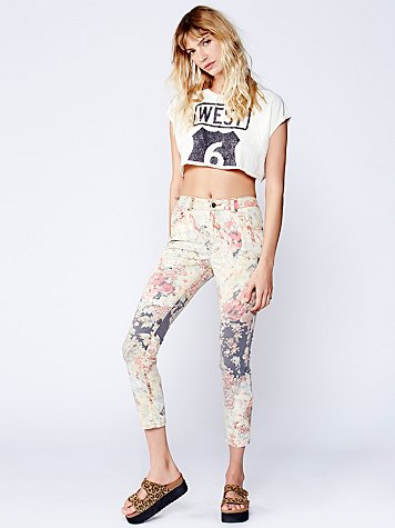 Hill Floral Mid Rise Skinny