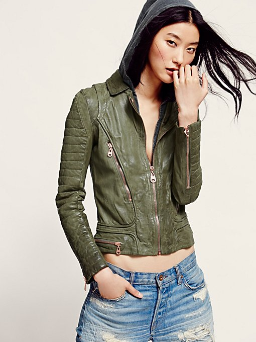 Doma Green Hood Leather Jacket