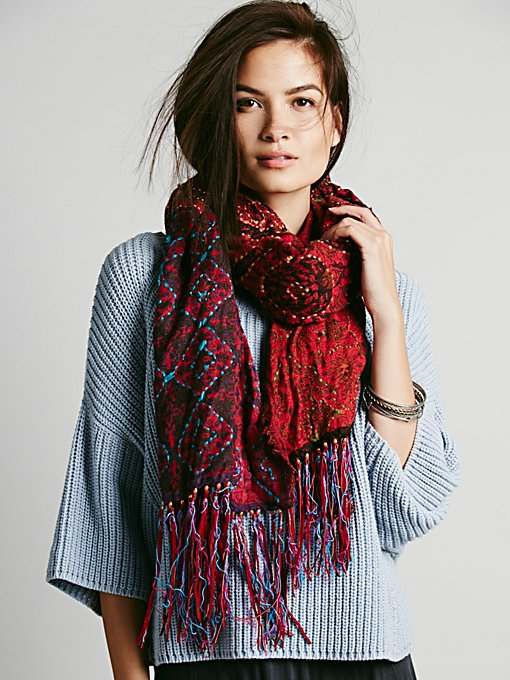 Patchwork Leather Fringe Scarf