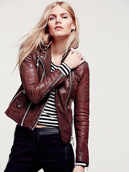 Scarlet Note Leather Biker Jacket