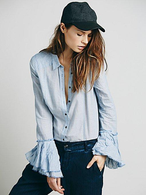 Stripe Bell Sleeve Buttondown